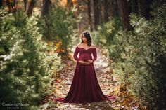 74cd980cb0a64 Darah Maternity Dress, Burgundy Green Maternity Gown with long sleeves,  sweetheart neckline, half circle