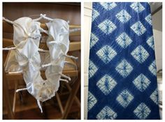 Komasu Shibori / Photos of prep work; piece is ready for dyeing. It was divided into 4 sections and stitched on the folds. The tube looked like a caterpillar with sharp spikes. Next to it, the gorgeous results! / Blue-scarf-group1 / by Nat at Silkshibori.wordpress