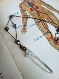 Teenage Witch  Crystal Pendant Necklace with Pyrite by LAB