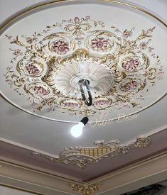 Image may contain: indoor Home Goods Decor, Ceiling Trim, Bedroom Decor Design, Victorian Ceiling Medallions, Closet Decor, Ceiling Design Bedroom, Ceiling Decor, Luxurious Bedrooms, Wall Painting Decor