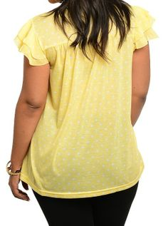 Buy Now @ 14.95. Yellow. Back View. Ruffle Cap Sleeve Tie Neck Polka Dot Print Plus Size Womens Blouse Size 14,16,18  #Blouse #Career