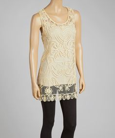 Pretty Angel Caramel Sheer Embroidered Silk-Blend Tunic | zulily