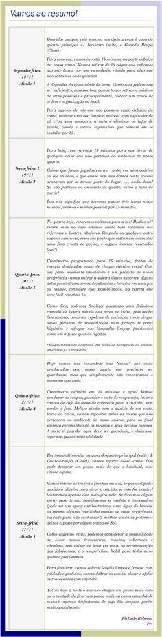 Missões FlyLady - 18 a 23 de Novembro Flylady, Words, Motivational, November Born, January, Home, Horse