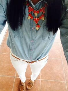 Jean shirt with white jeans and sperrys with a collar necklace