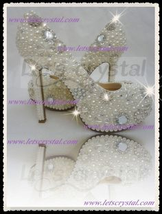 Let's Crystal - LADIES SHOES - Crystal mix Pearl Series - LetsC wemens high heels wedding dress shoes