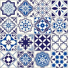 Spanish or Portuguese vector tile pattern, Lisbon floral mosaic, Mediterranean seamless navy blue ornament Ornamental tile background, background inspired by Spanish and Portuguese traditional tiles Buch Design, Tile Design, Tile Art, Mosaic Tiles, Mundo Hippie, Mediterranean Style Homes, Mediterranean Architecture, Traditional Tile, Tile Wallpaper