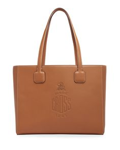 Mark Cross Cannes Soft Leather Logo Tote Bag In Brown Calf Leather, Soft Leather, Mark Cross, Hand Bags, Cannes, World Of Fashion, Luxury Branding, Neiman Marcus, Shoulder Bags