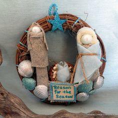 Little nativity wreath with sea shells