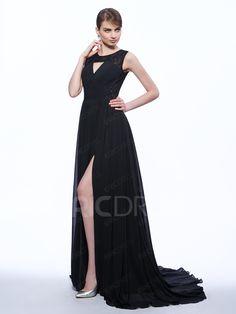 2f82e6f0e Ericdress A-Line Scoop Lace Split-Front Court Train Evening Dress 3 Vestidos  De
