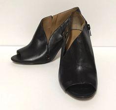 602d8f11b44 Nine West Black Leather Graphifoto Peep Toe High Heel Bootie Sandals Size  7.5M  NineWest