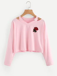 Cut Out Neck Rose Patch TeeFor Women-romwe Outfits Teenager Mädchen, Teen Girl Outfits, Teen Fashion Outfits, Pink Outfits, Cute Casual Outfits, Teenage Outfits, Outfits For Teens, Jugend Mode Outfits, Belly Shirts
