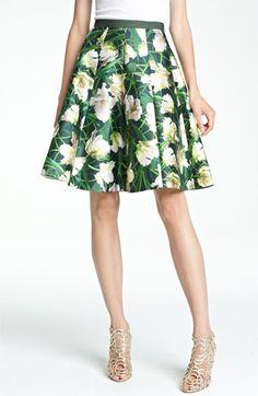 Oscar de la Renta Floral Print Swing Skirt for an inverted triangle body shape