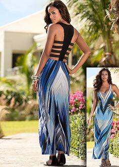 Back detail print maxi, bead detail sandal in the VENUS Line of Dresses for Women