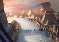 central city canal system Island 3 - Amonkhet MtG Art Water flows from the various towers, forming various waterfalls that cascade to form the grand canal. Fantasy City, Fantasy Castle, Fantasy Places, Fantasy World, Fantasy Concept Art, Fantasy Artwork, Egypt Concept Art, Fantasy Art Landscapes, Fantasy Landscape