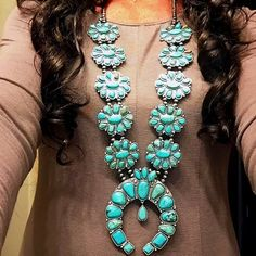 Your place to buy and sell all things handmade - Turquoise Large Squash Blossom Necklace Naja Boho Southwestern Necklace Western Jewelry Free Shippi - Dainty Jewelry, Tribal Jewelry, Jewelry Accessories, Navajo Jewelry, Jewlery, Silver Jewelry, Turquoise Pendant, Turquoise Necklace, Western Turquoise Jewelry