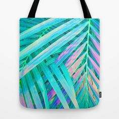 Green Tote Bag, Tropical Leaf Print Bag, Pink & Green Beach Bag, Tropical Glam Library Tote, Mint Grocery Sack, Palm Leaf Bag, Shoulder Bag by OlaHolaHolaBaby on Etsy