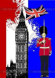 Биг Бен и флаг Великобритании - изображение в векторе
