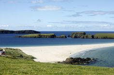 St Ninian's Isle, joined to Mainland by a tombolo of sand , Shetland