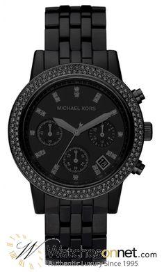 Michael Kors Acrylic  Chronograph Quartz Women's Watch, Stainless Steel, Black Dial, MK5527  For her
