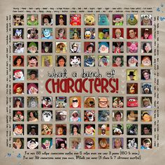 What a Cast of Characters - Use this idea with the kids pics mixed in with the characters?