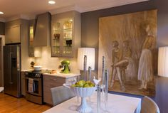 Kitchen with big pictures