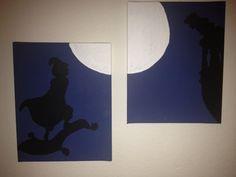 Disneys Aladdin and Jasmine silhouette painting set via Etsy