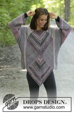 Diamond cut / DROPS – free knitting patterns by DROPS design – Knitting Ideas Crochet Tunic Pattern, Tunisian Crochet, Sweater Knitting Patterns, Knit Patterns, Free Knitting, Free Crochet, Knit Crochet, Knitting Ideas, Drops Design