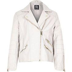 Girls cream leather-look zip biker jacket