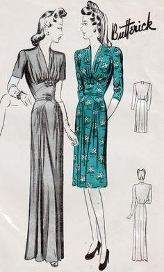 1940er Jahre Vintage Sewing Pattern Butterick 2471 Womens glamourösen Kleid oder Kleid