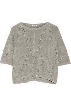 Helmut Lang | Cropped knitted linen-blend sweater | NET-A-PORTER.COM