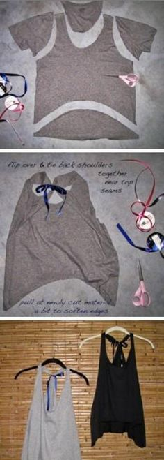Old tshirt repurpose: this is very easy and such a cute way to make old boring t…