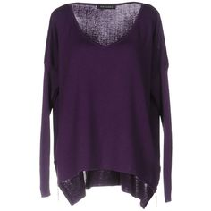 Mangano Jumper (€145) ❤ liked on Polyvore featuring tops, sweaters, purple, long sleeve v neck top, v neck jumper, v-neck tops, purple sweater and purple v neck sweater
