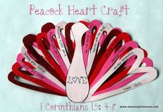 Heart Peacock Craft Teaches True Love from 1 Corinthians 13:4-8