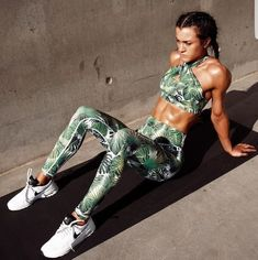 Floral Women Yoga Sets Fitness Sport Bra+Yoga Pants Leggings SetJogging Women Tracksuit Pad S Fun Workouts, At Home Workouts, Fitness Workouts, Fitness Video, Fitness Sport, Fitness Equipment, Ladies Fitness, Fitness Pants, Fitness Wear