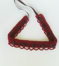 Burgundy Crochet Choker Oxblood Wine and Black Valentine Gift. $13.00, via Etsy.