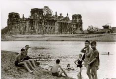 Old image of the Reichstag of Berlin from the Spree