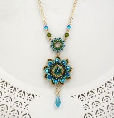 Turquoise flower necklace Long turquoise necklace by LioraBJewelry