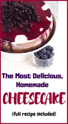 Try making this delicious cheesecake recipe – Desserts World Homemade Cheesecake, Blueberry Cheesecake, Cheesecake Recipes, Dessert Recipes, Just Desserts, Delicious Desserts, Yummy Food, Healthy Food, Cupcake Cakes