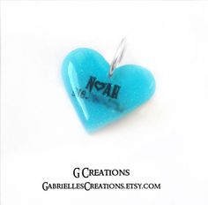 Blue Heart Dog and Cat ID Tag  Glow in the by GabriellesCreations