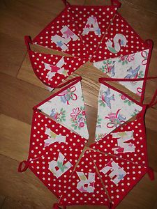 HANDMADE BUNTING WITH CATH KIDSTON CHRISTMAS BIRDS & RED POLKA DOT FABRIC - www.breifnecottagedesigns.com