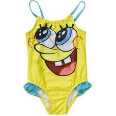 Yellow Cartoon Spongebob Print One Piece Swimsuit