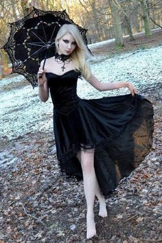 Lacey in Black and Her Black Umbrella...