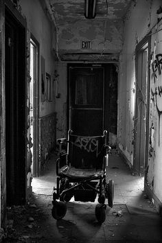 nothing creepier than an old wheelchair in an abandoned building