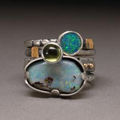 Size 5.5 Boulder Opal and Peridot with 14K and 22K Gold accent Sterling Silver Stack Ring