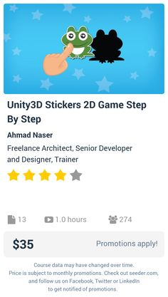 Unity3D Stickers 2D Game Step By Step | Seeder offers perhaps the most dense collection of high quality online courses on the Internet. Over 13,800 courses, monthly discounts up to 92% off, and every course comes with a 30-day money back guarantee.