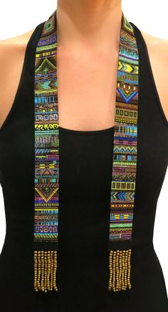 Maya Necklace - Statement scarf necklace, loomed beadwork, inca, pendant necklace, $1375