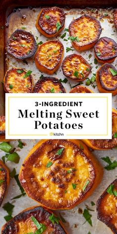 3 Ingredient Melting Sweet Potatoes If youre looking for ideas for simple and easy sides and side dishes for dinner this fast DELICIOUS recipe is just the ticket You dont. Potato Sides, Potato Side Dishes, Veggie Dishes, Tasty Dishes, Sweet Potato Side Dish, Baked Sweet Potato Oven, Healthy Vegetable Side Dishes, Roasted Sweet Potato Slices, Sweet Potato Bbq