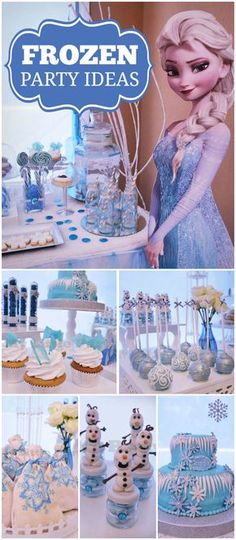 My Little Party's Birthday / Frozen (Disney) - Princess Guada-Frozen at Catch My Party Elsa Birthday Party, Frozen Themed Birthday Party, Disney Frozen Birthday, Olaf Party, Princess Birthday, Birthday Party Decorations, 4th Birthday, Birthday Ideas, Frozen Disney