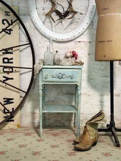 Painted Cottage Chic Shabby White Aqua Night by paintedcottages, $110.00