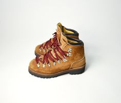 Vintage Tan Leather Hiking Boots with Red & Black Laces